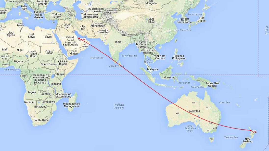 Flygresa Doha till Auckland