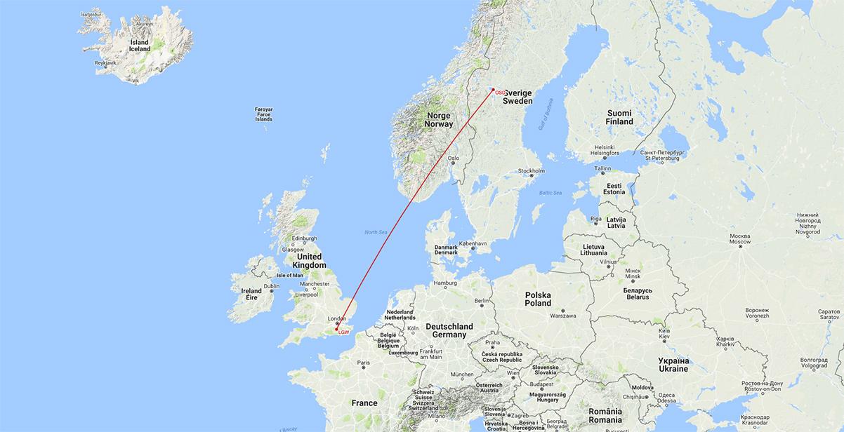 easyJet flyger till/från London