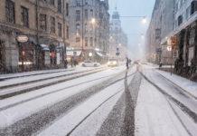 Kungsholmen och snöfall i november