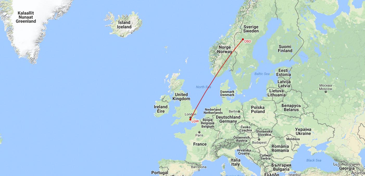 Östersund till London Gatwick