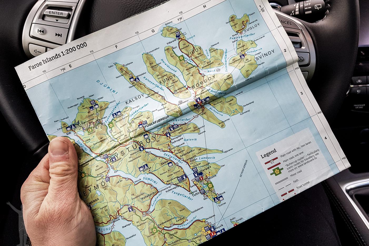 Karta över Färöarna