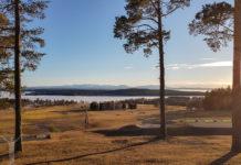 Solnedgång vid golfklubben på Frösön