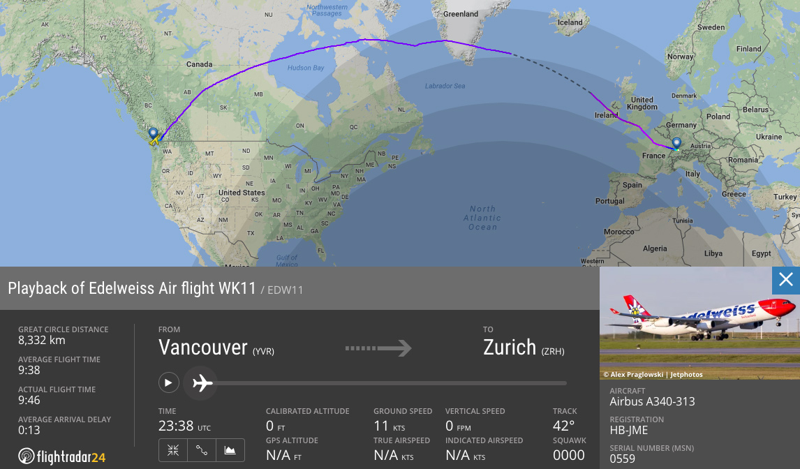 Edelweiss Air - YVR-ZRH