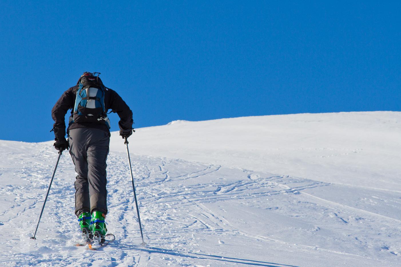 Martin på väg mot Getryggens topp