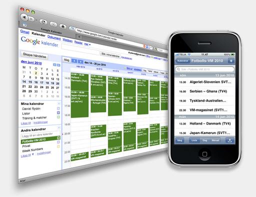 Google Calendar och  SVT:s VM-kalender - i webbläsare och iPhone
