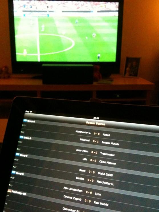 CL och LiveScore på iPad 2:an.