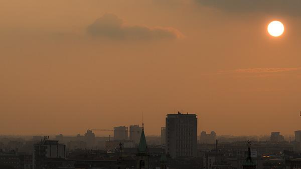 Solnedgång över Milano