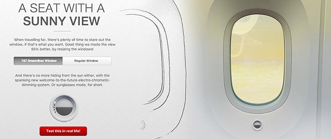 Större fönster Dreamliner