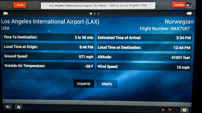 In-Flight Entertainment System Norwegian 787 Dreamliner
