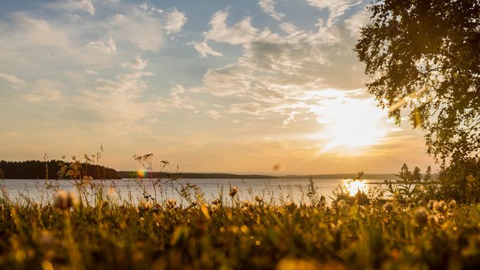 Raftälven solnedgång