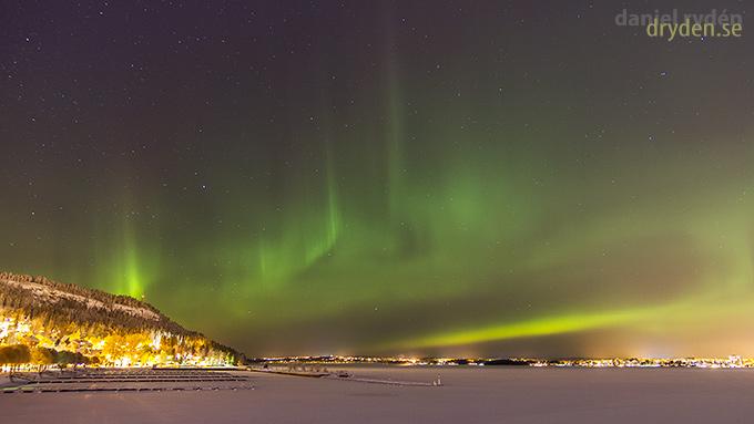 Norrsken över Frösön, Östersund och Jämtland på julafton