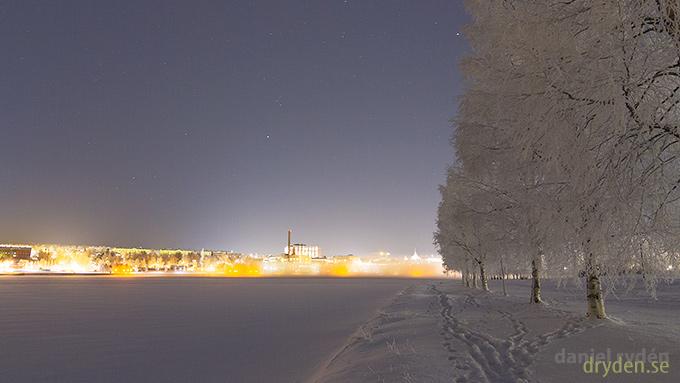 Östersund från Frösön på julafton