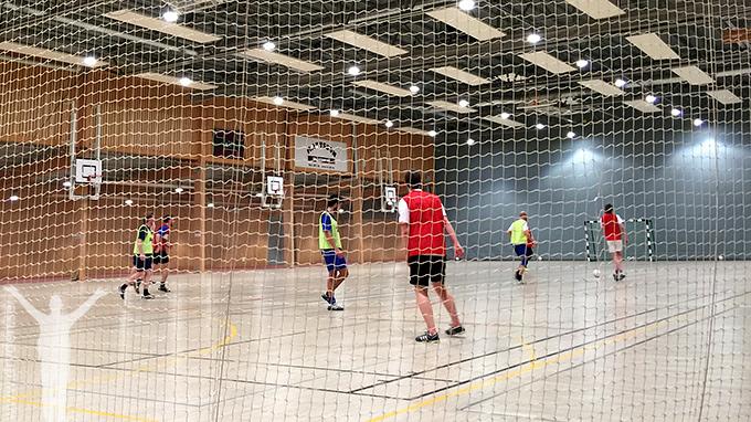 Fotbollsträning i Jämtkrafthallen