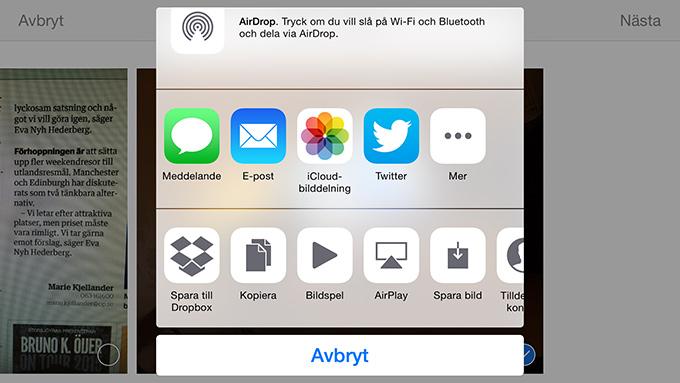 Dropboxdelning i iOS