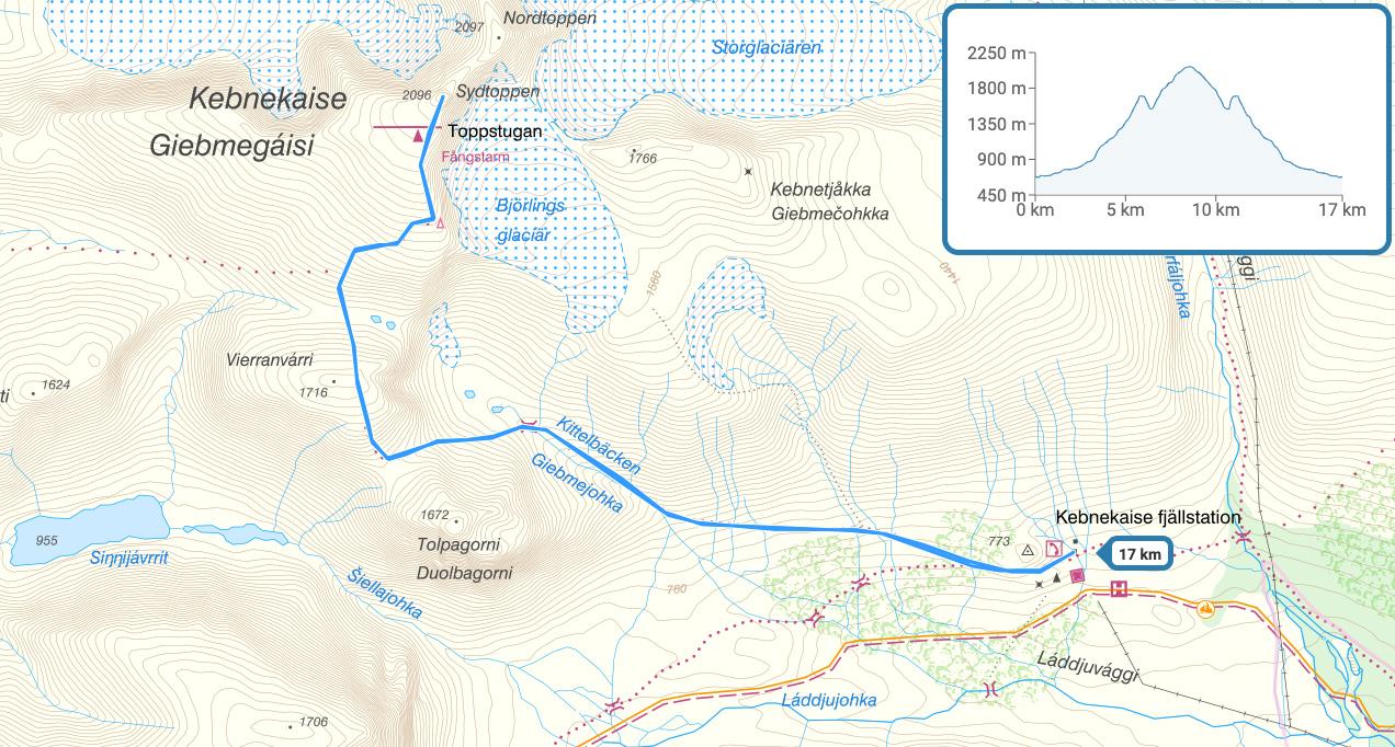 Karta och höjdgraf för västra leden till Kebnekaise