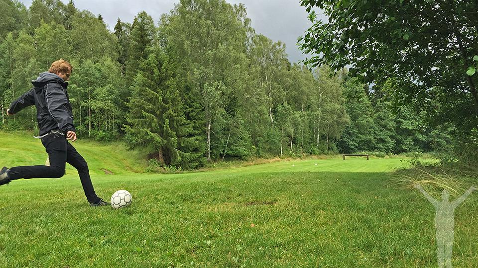 Fotbollsgolf på Lane Loge - tee på hål 3