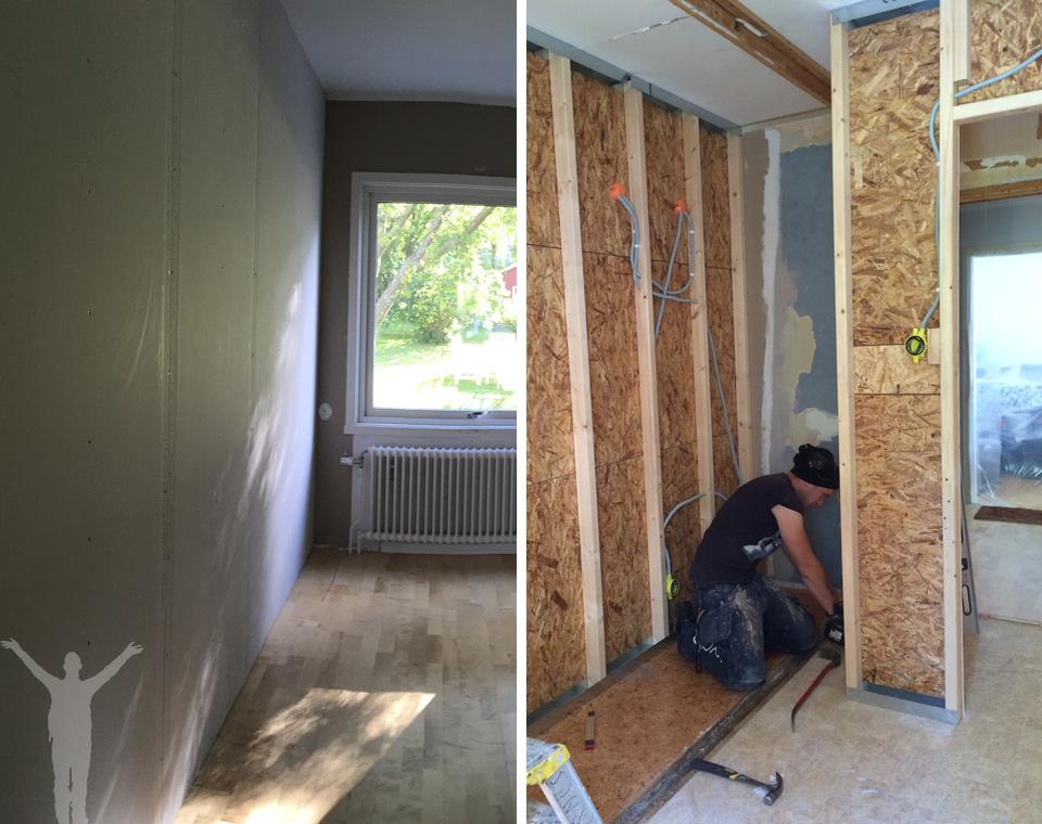 Köksvägg och väggar i ena sovrummet.