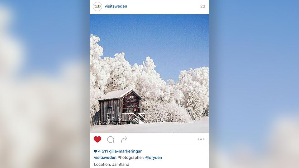 VisitSwedens repost av min bild på Instagram