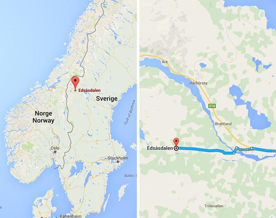 Karta över Edsåsdalen