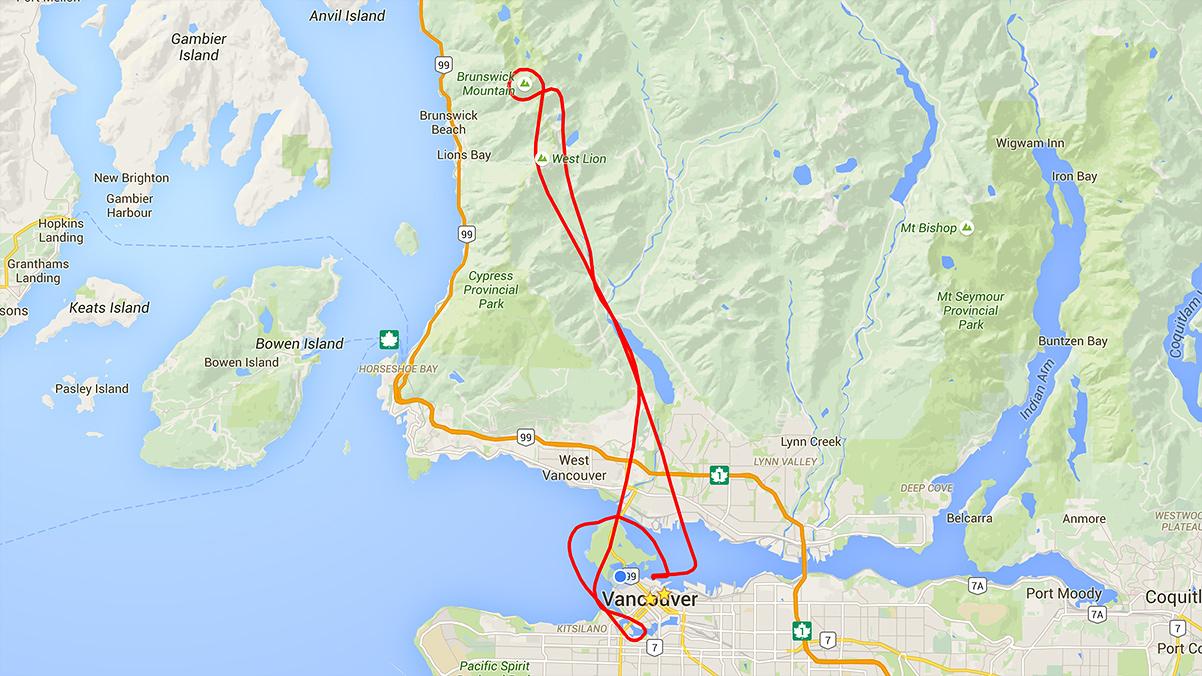 Flightseeing route