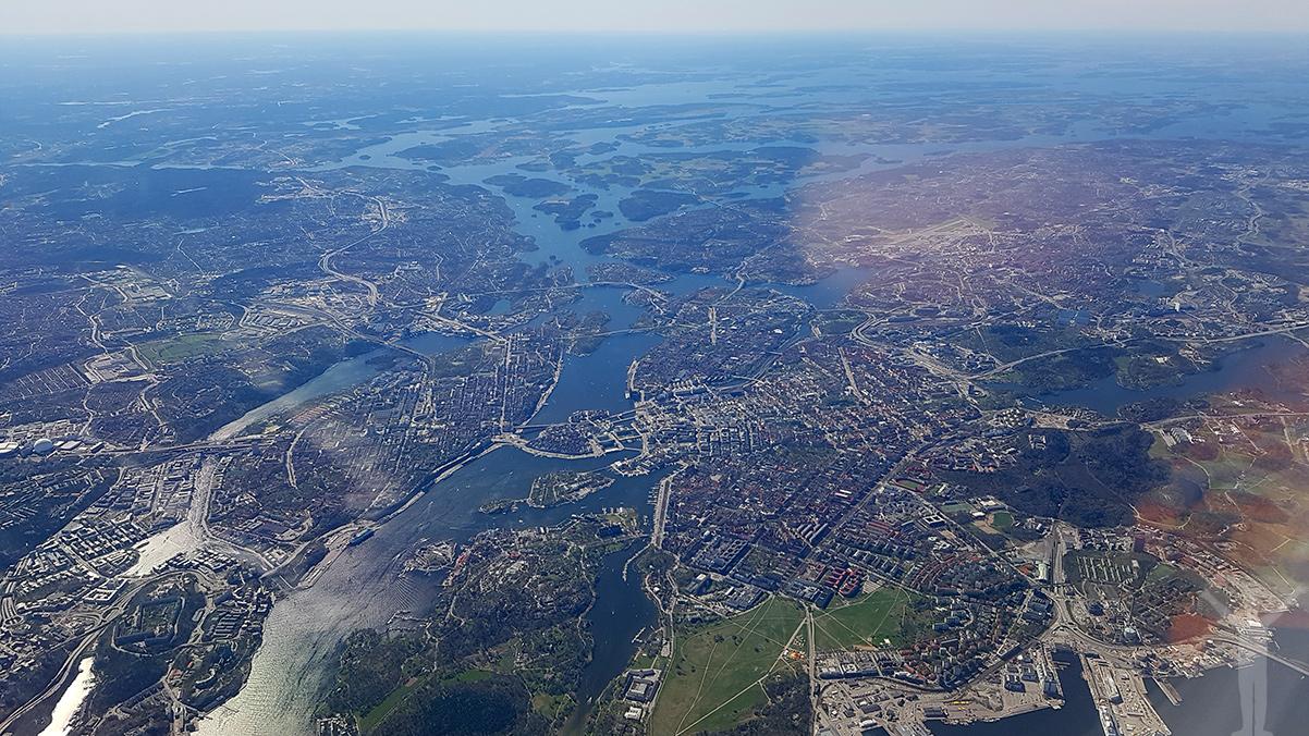 Stockholm från 9400 fot.