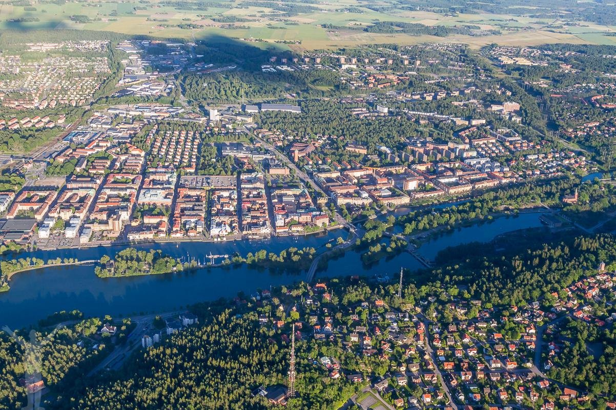 Trollhättan centrum och Spikön.