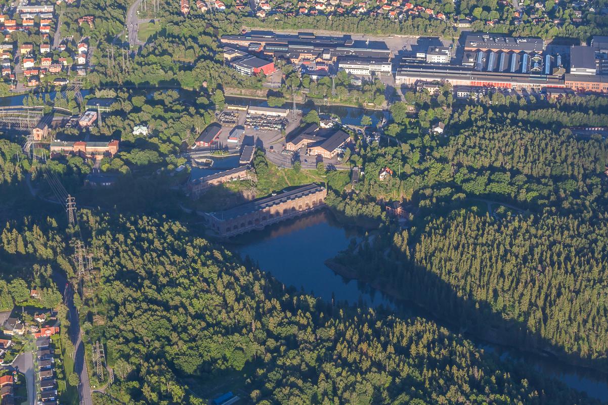 Olidans kraftverk, flygfoto över Trollhättan.