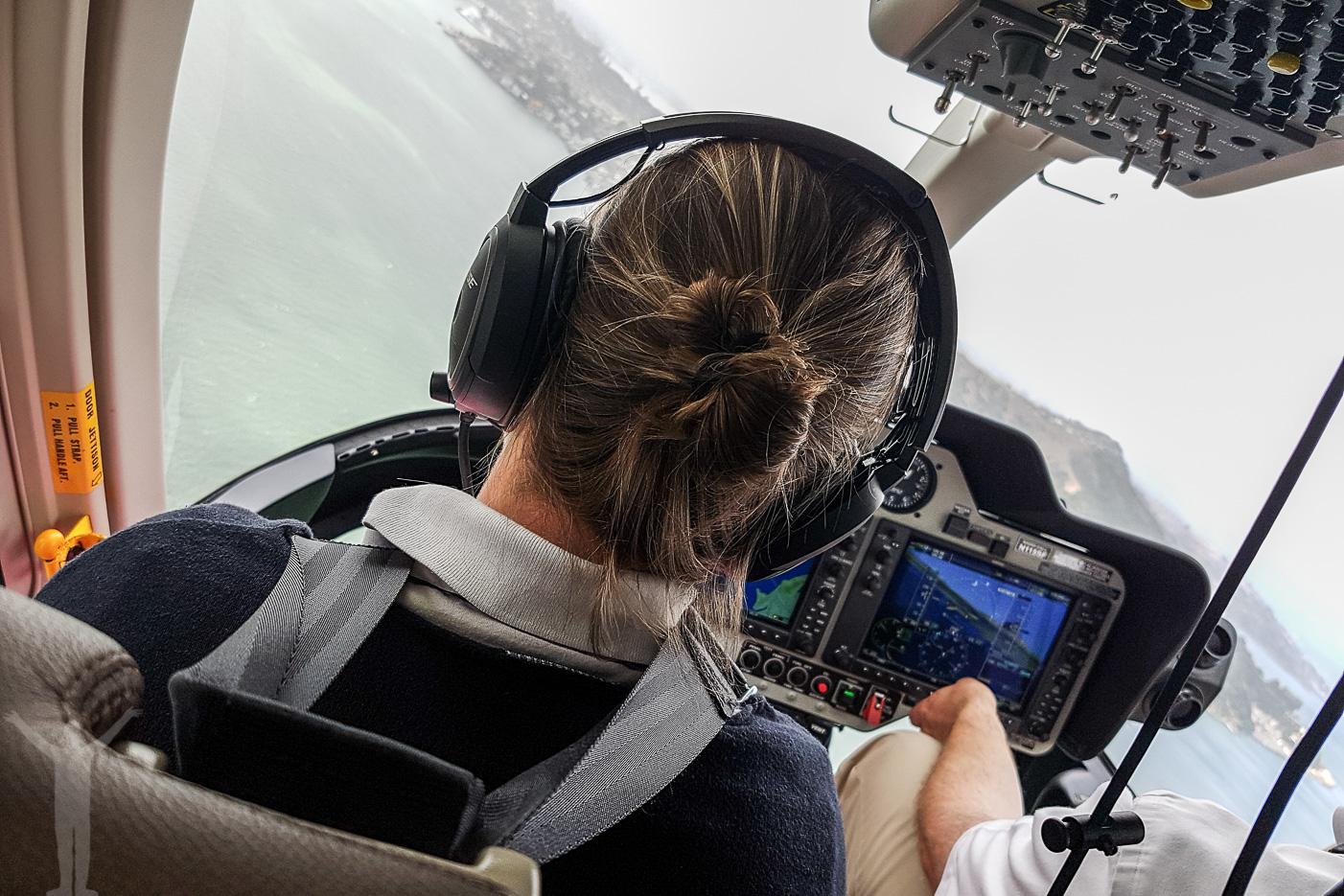 Framsätet på en helikoptertur