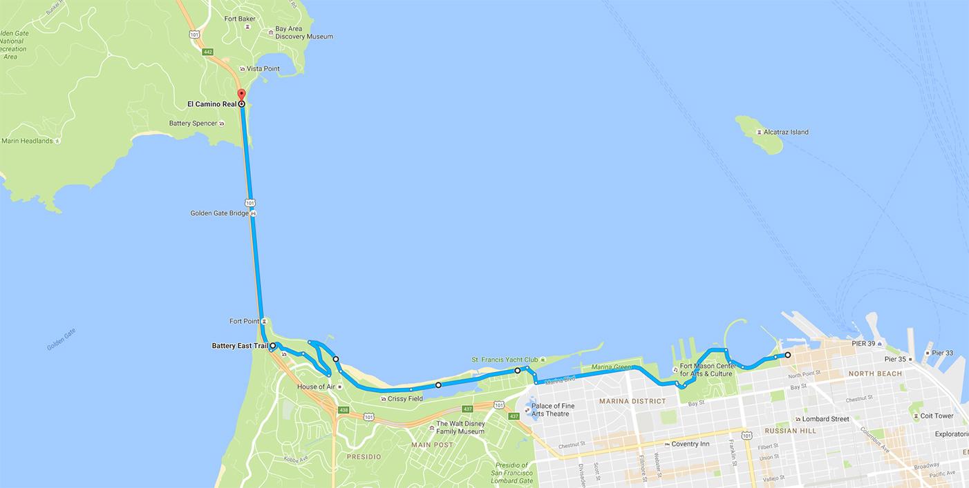 Cykling till och från Golden Gate-bron