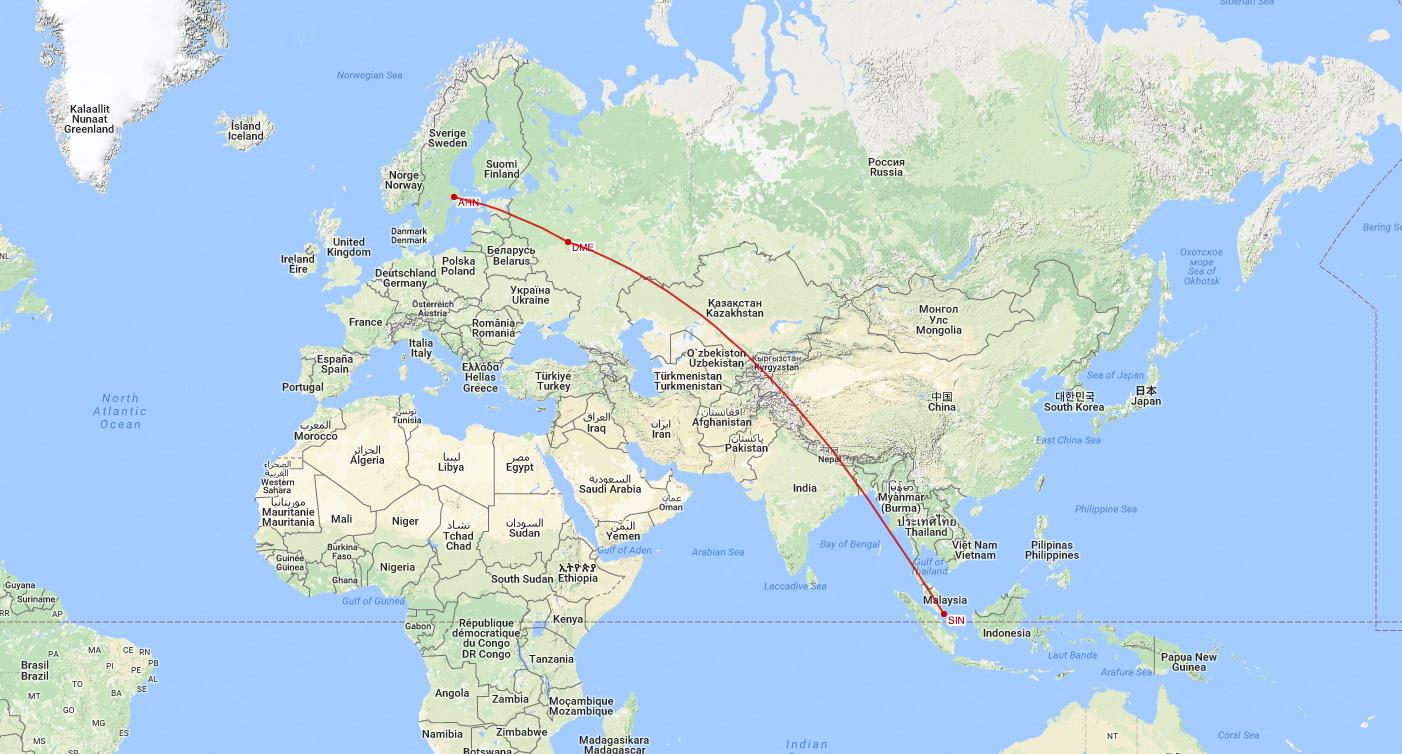 Arlanda till Singapore via Moskva