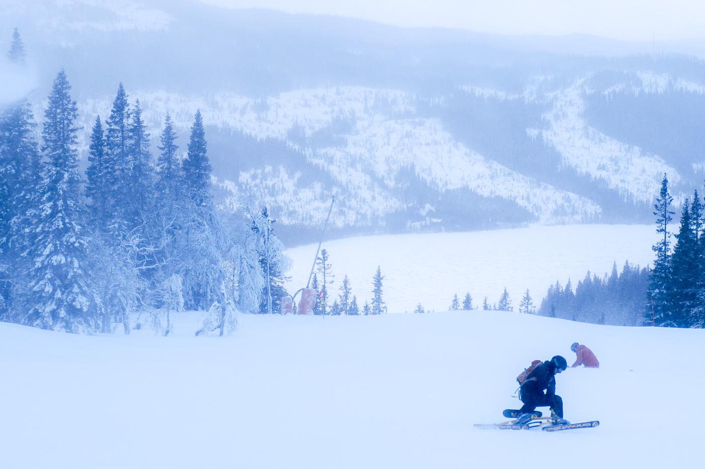 Jag kraschar på snowbiken