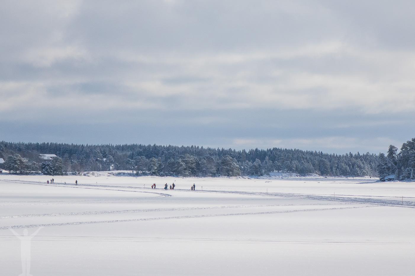 Skidor och skridskor på Storsjöns is.