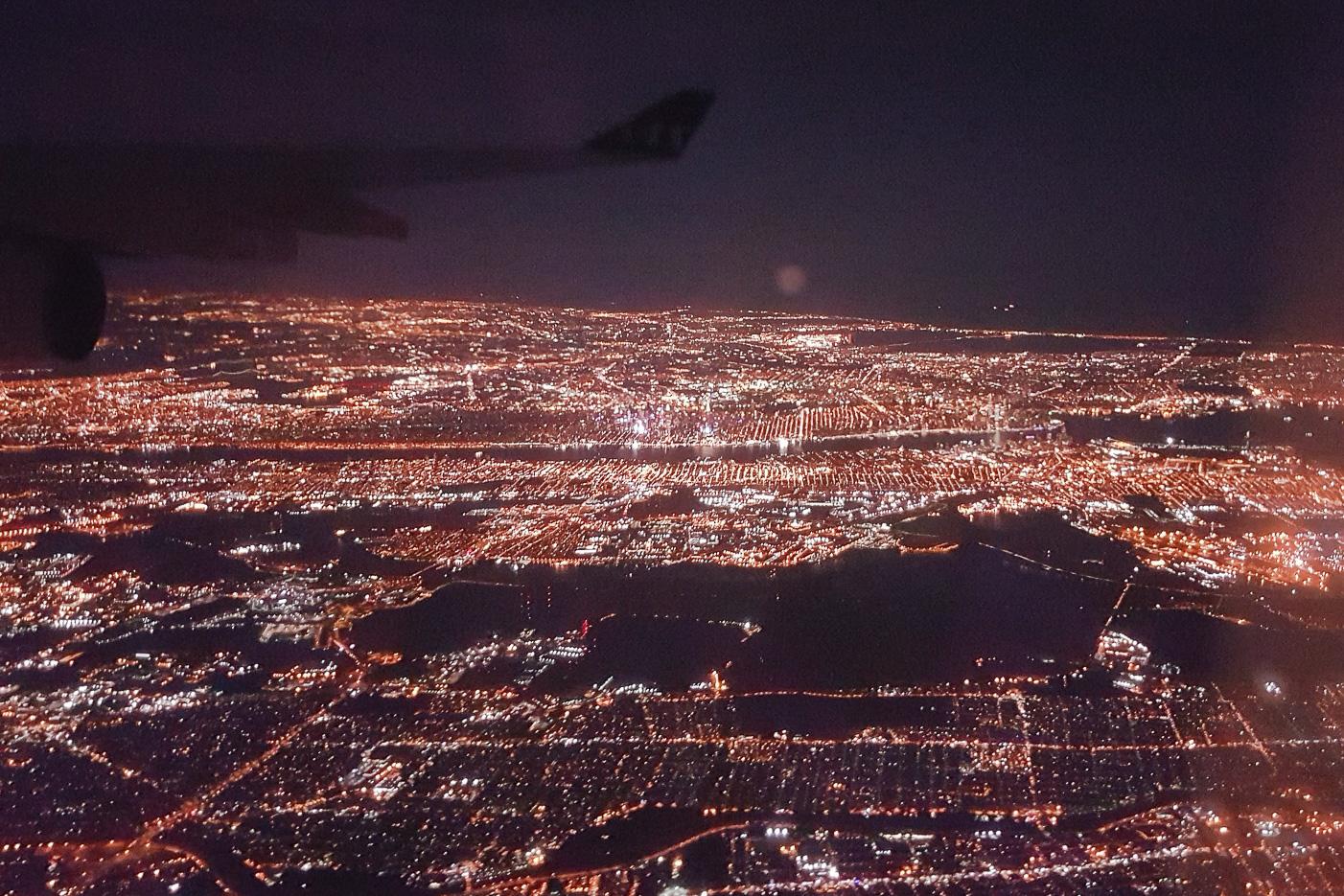 New York och nattlig take off