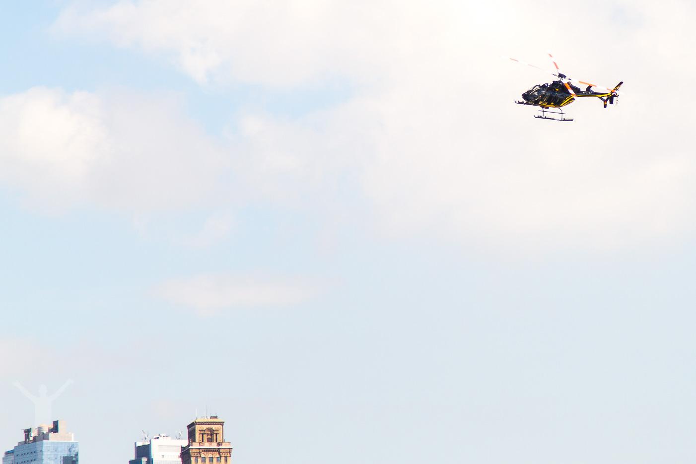 Uppgradering på vår helikoptertur ovanför Manhattan