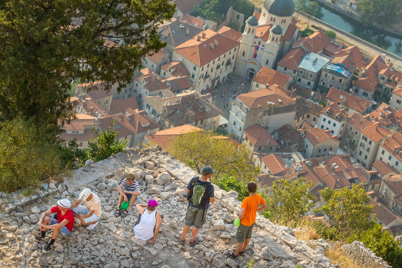 Utsikt över gamla stan i Kotor