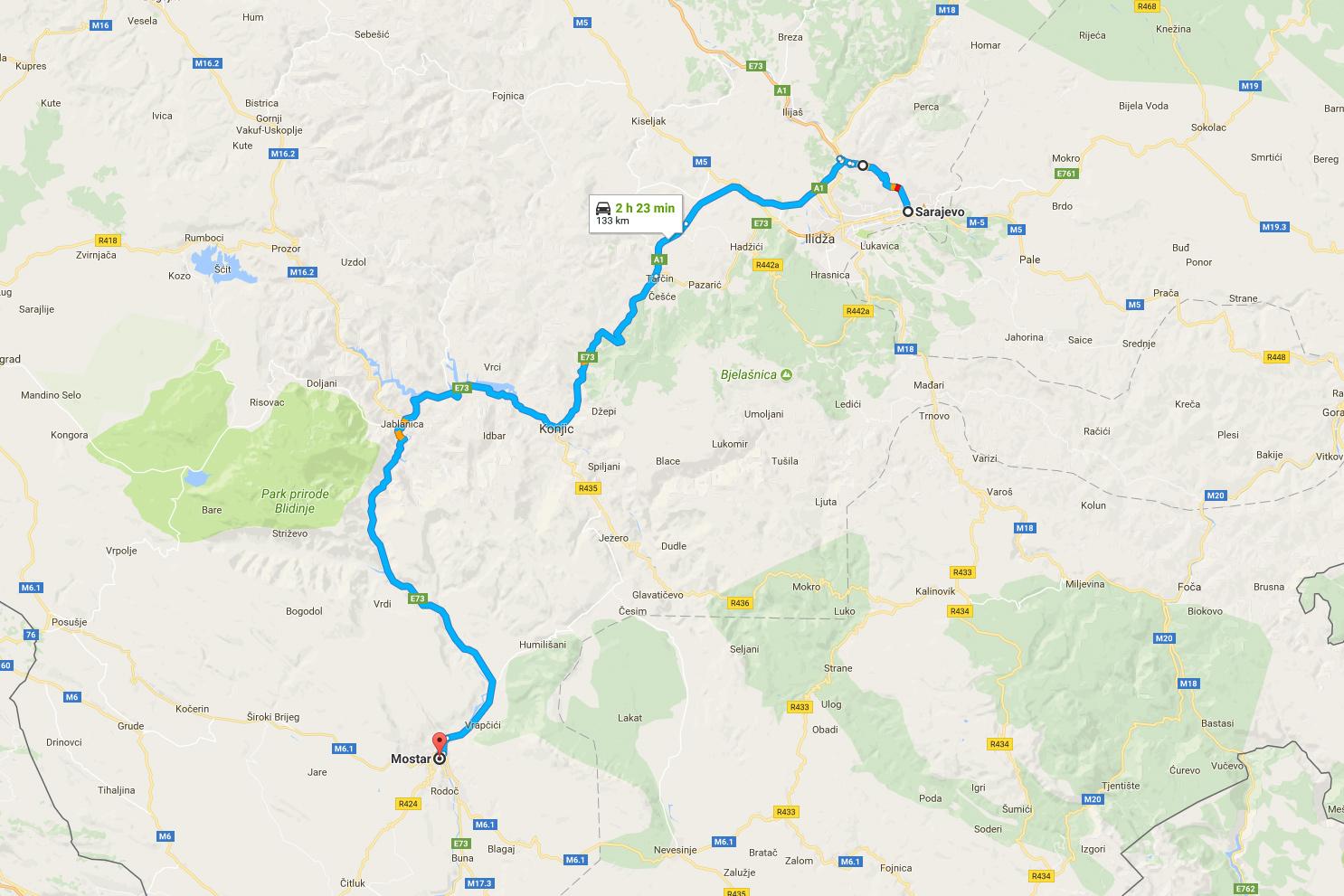 Vägen mellan Sarajevo och Mostar