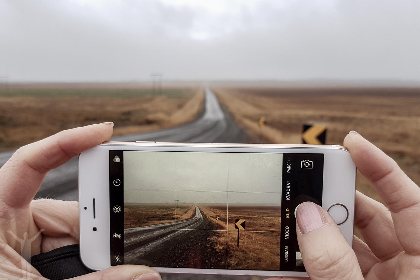 Att fotografera en väg på Island