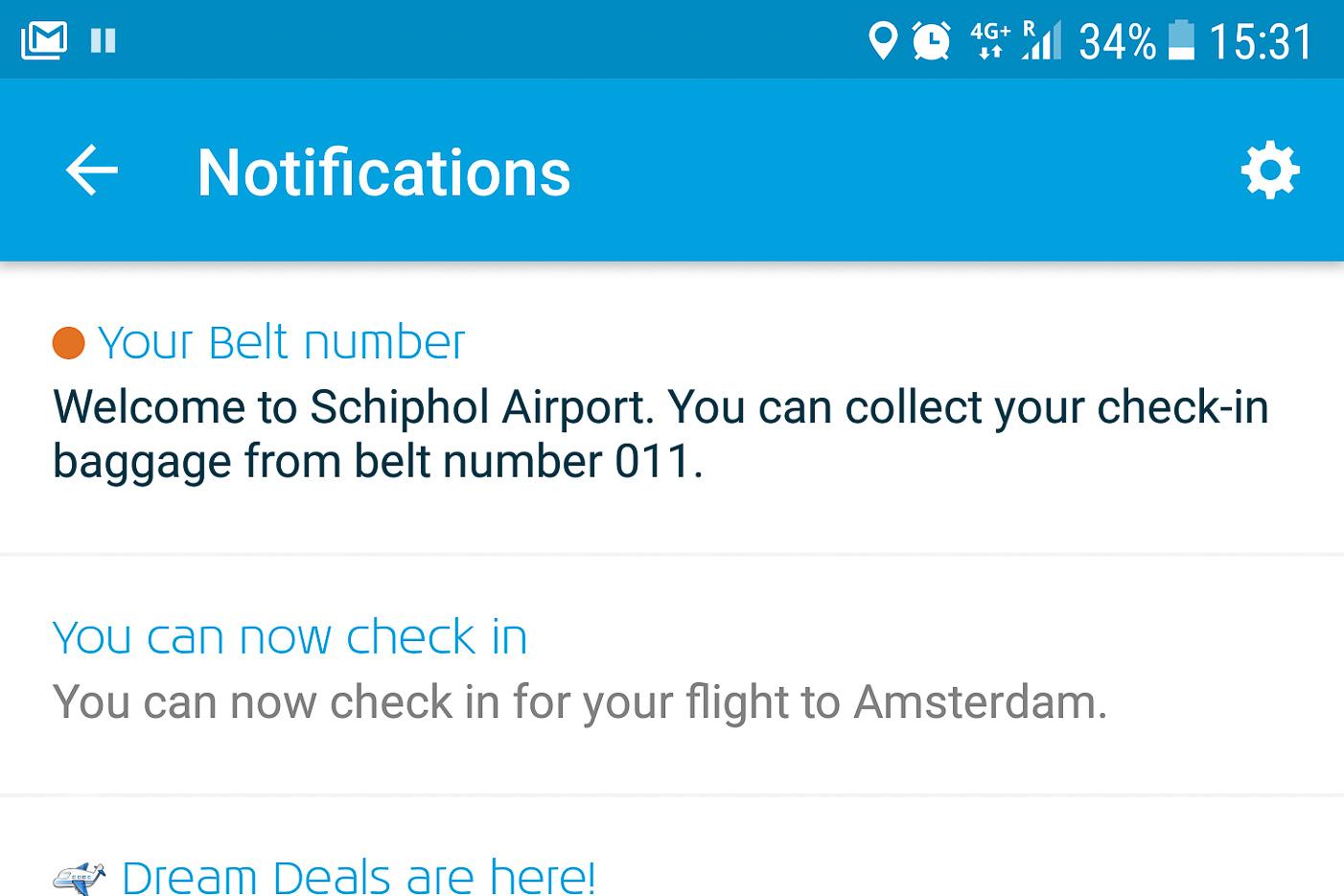 Notis om bagage i KLM-appen