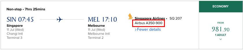 Vilken flygplanstyp visas tydligt hos Singapore Airlines