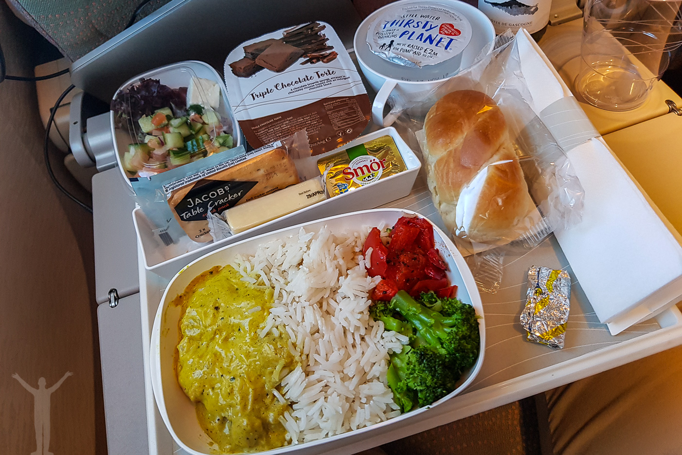 Middag i ekonomiklass hos Emirates
