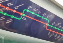 Karta över metron i Dubai