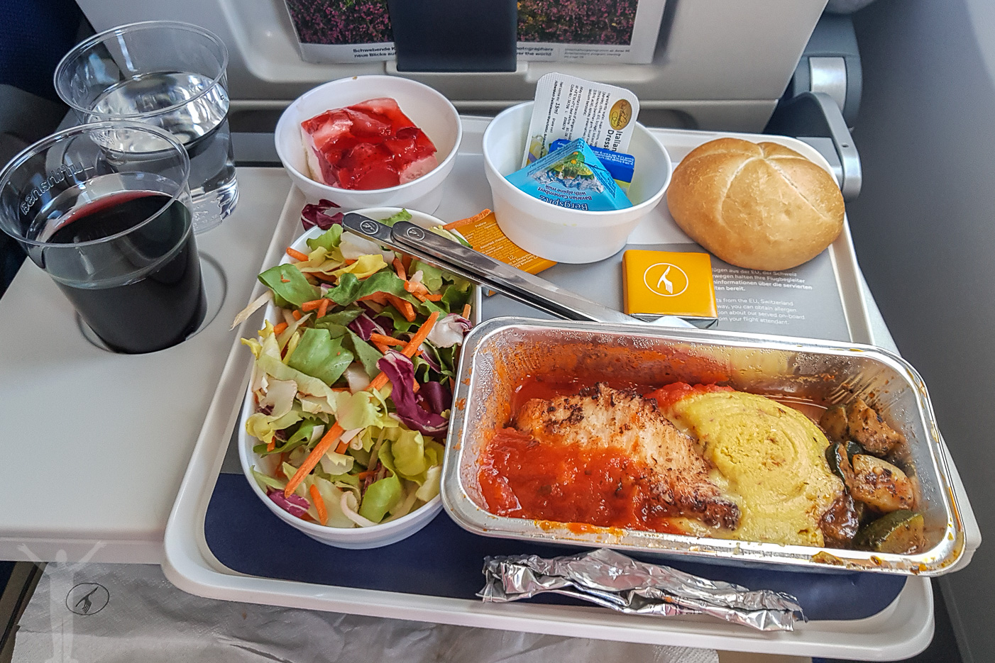 Första måltiden hos Lufthansa