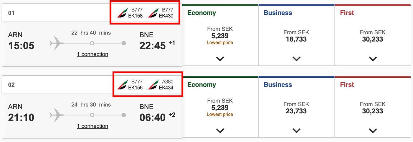 Emirates visar också vilken flygplanstyp de använder sig av.