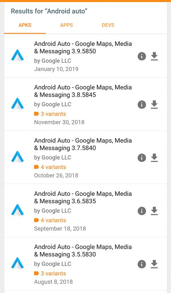 Android Auto på apkmirror.com
