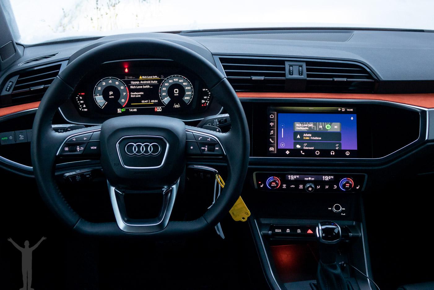 Android Auto på svenska, i en Audi Q3 2019.