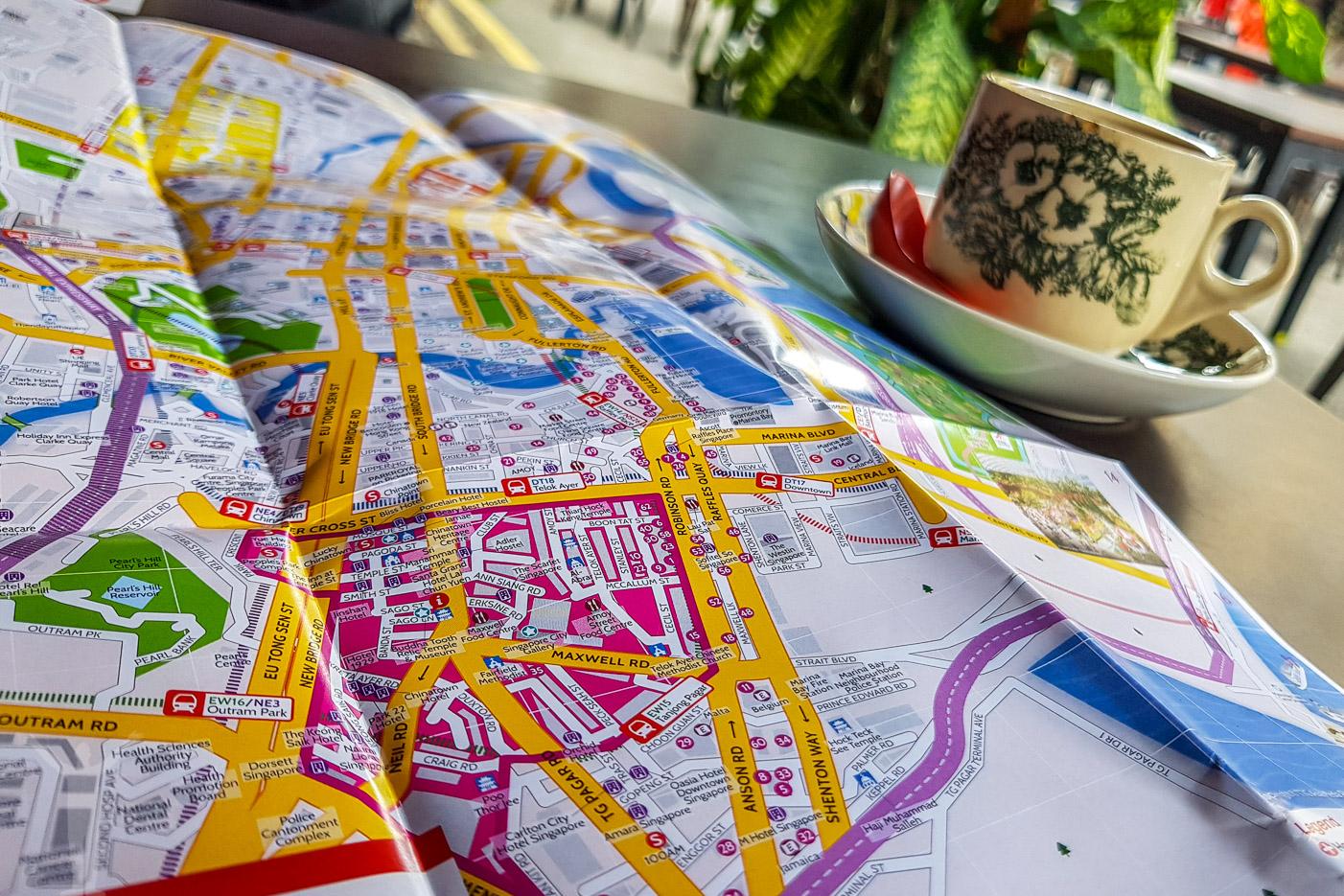 En kaffe och karta