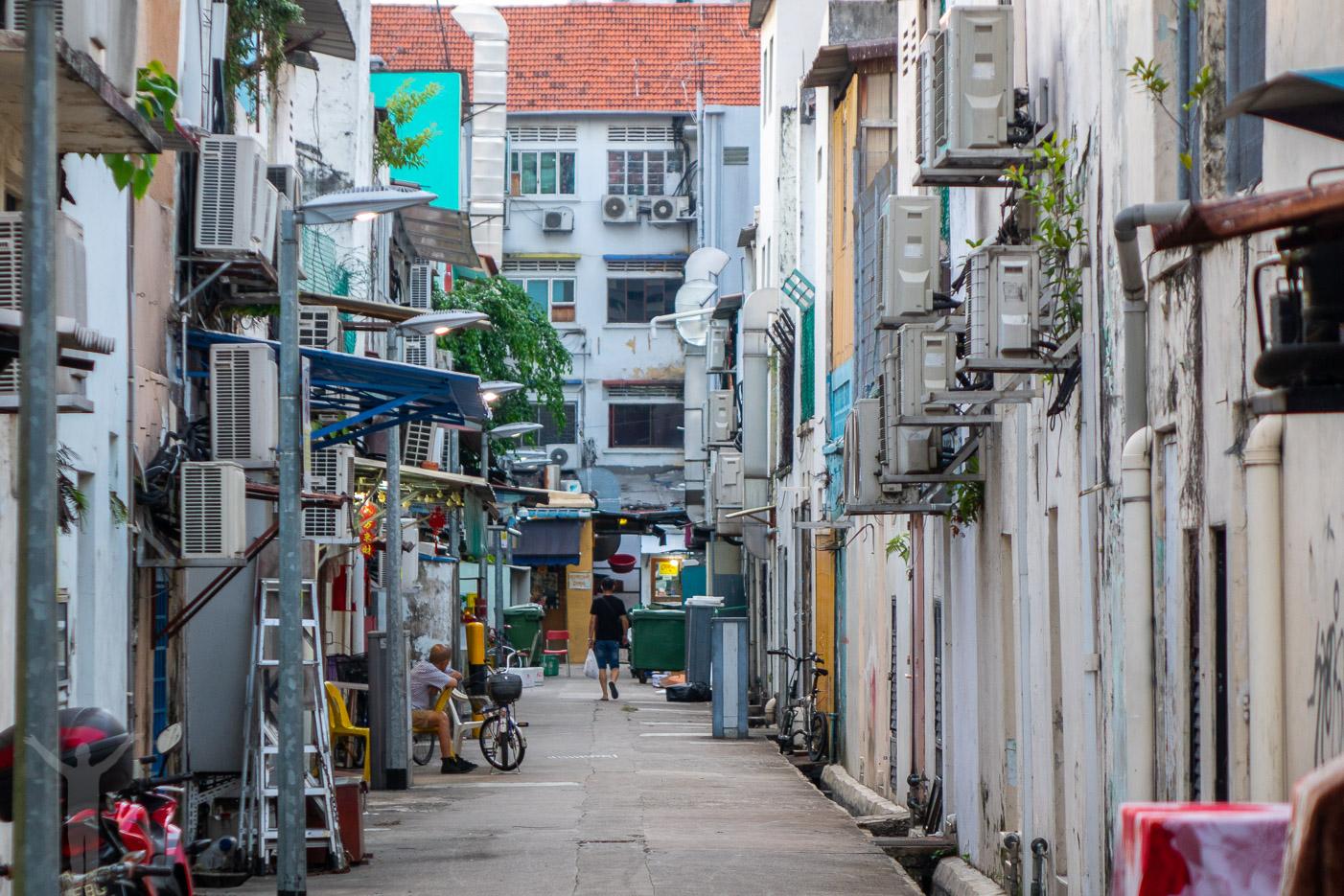 Bakgård i Little India i Singapore