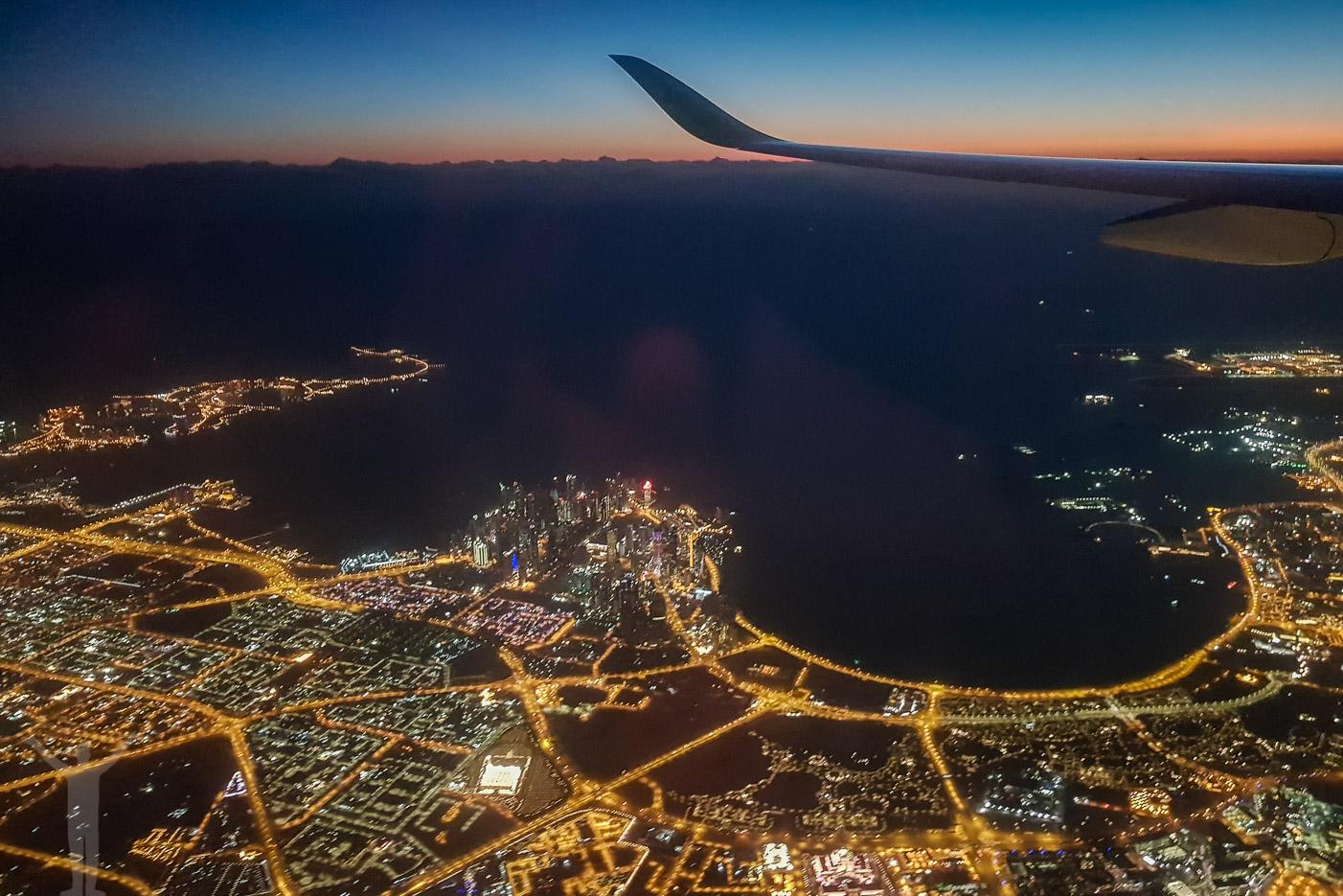 Morgon och inflygning över Doha