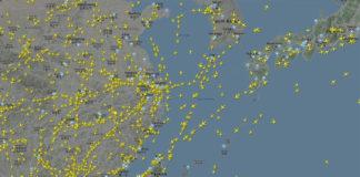 Tät flygtrafik över östra Asien