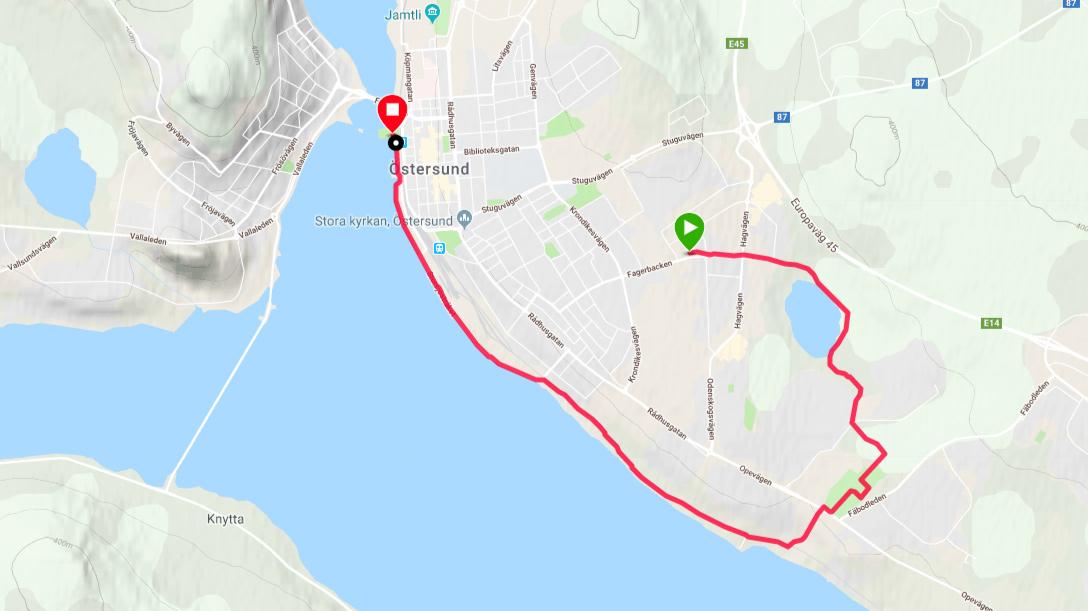 Karta över Spring en mil - vinn en bil i Östersund